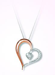 Liali Jewellery Two Tone 18K Rose/White Gold Heart Diamond Pendant for Women