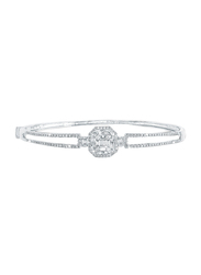 Liali Jewellery Emerald Cut 18K White Gold Bangle for Women with 0.96ct Diamond Stone, White