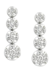 Liali Jewellery 18K White Gold Tennis Earrings for Women with 28 Diamond, Silver