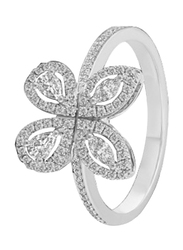 Liali Jewellery Red Carpet Butterfly 18K White Gold Fashion Ring for Women with 88 Diamond, Silver, US 7