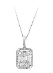 Liali Jewellery Emerald Cut 18K White Gold Diamond Pendant for Women, 2 Carat Look, Silver