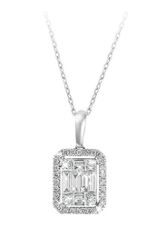 Liali Jewellery Emerald Cut 18K White Gold Diamond Pendant for Women, 1.5 Carat Look, Silver