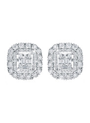 Liali Jewellery Emerald Cut Halo 18K White Gold Stud Earrings for Women with 0.7ct Diamond Stone, White
