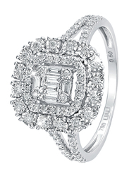 Liali Jewellery Emerald Cut 18K White Gold Halo Fashion Ring for Women with 0.5ct Diamond Stone, White, US 7