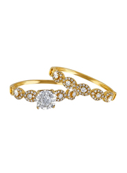 Liali Jewellery Love Band 18K Yellow Gold Couple Ring with 102 Diamond, Gold, US 7
