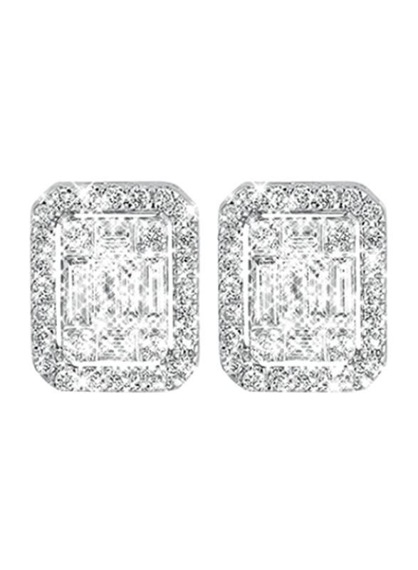 Liali Jewellery Emerald Cut 18K White Gold Stud Earrings for Women with 90 Diamond, 2 Carat Look, Silver