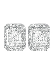 Liali Jewellery Emerald Cut 18K White Gold Stud Earrings for Women with 90 Diamond, 2 Carat Look, Silver