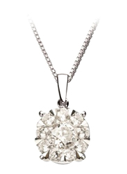 Liali Jewellery Mirage Classic 18K White Gold Pendant for Women, 2 Carat Look, Silver