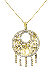 Liali Jewellery Regalo 18K Yellow Gold Necklace for Women with Zircon Stone Dream Catcher Gold Pendant with Ummi Calligraphy, Yellow