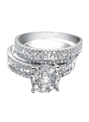 Liali Jewellery Love Band 18K White Gold Couple Ring with 106 Diamond, Silver, US 7