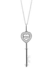 Liali Jewellery 18K White Gold Dancing Diamond Heart Key Pendant for Women, Silver
