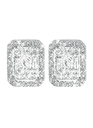 Liali Jewellery Emerald Cut 18K White Gold Stud Earrings for Women with 72 Diamond, 1 Carat Look, Silver