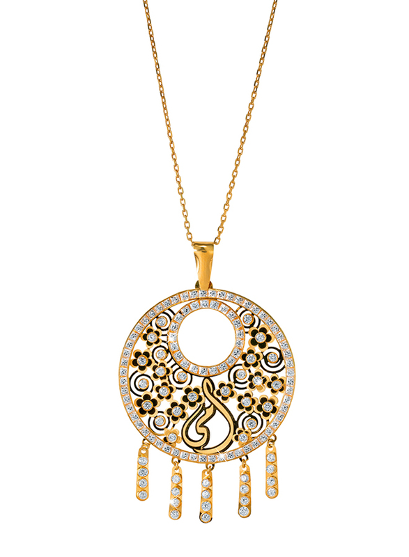 Liali Jewellery Regalo 18K Yellow Gold Necklace for Women with Zircon Stone Pendant, Yellow