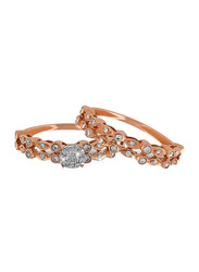 Liali Jewellery Love Band 18K Rose Gold Couple Ring with 52 Diamond, Rose Gold, US 7