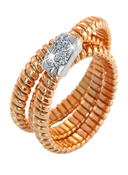 Liali Jewellery Tessitore 18K Rose Gold Fashion Ring for Women with 7 Diamond, Rose Gold, US 7