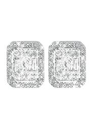 Liali Jewellery Emerald Cut 18K White Gold Stud Earrings for Women with 72 Diamond, 0.5 Carat Look, Silver