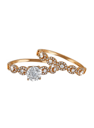 Liali Jewellery Love Band 18K Rose Gold Couple Ring with 102 Diamond, Rose Gold, US 7