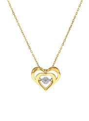 Liali Jewellery 18K Yellow Gold Heart in Heart Diamond Pendant for Women, Gold