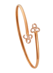 Liali Jewellery 18K Rose Gold Charming Bangle for Women with 0.17ct Diamond Stone, Rose Gold
