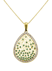 Liali Jewellery Regalo 18K Yellow Gold Necklace for Women with Zircon Stone Drop Shaped Gold Pendant, Yellow