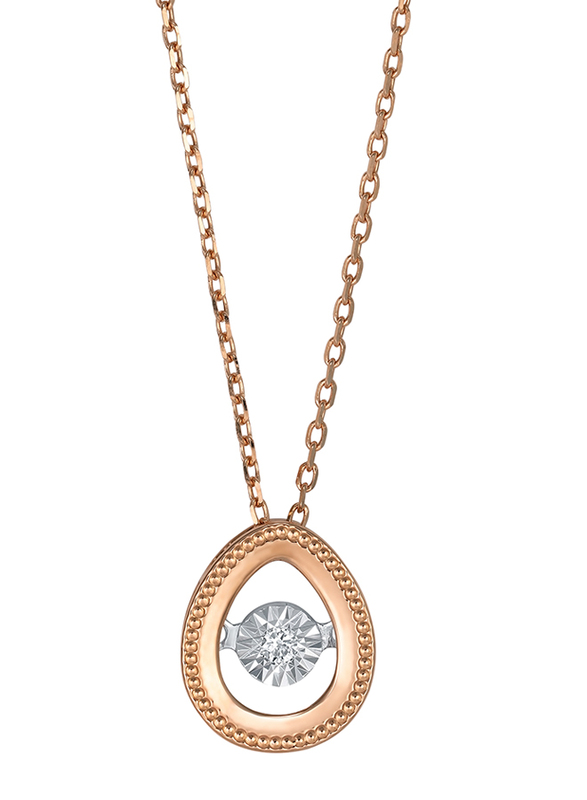 Liali Jewellery 18K Rose Gold Necklace for Women with 0.04ct Dancing Diamond Stone Drop Shape Pendant, Rose Gold