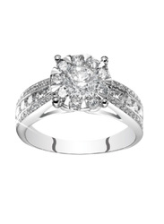 Liali Jewellery Mirage Taper Band 18K White Gold Engagement Ring for Women with 67 Diamond, 2 Carat Look, Silver, US 7