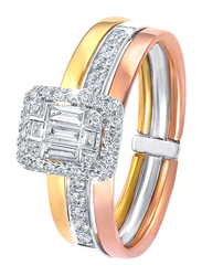 Liali Jewellery Emerald Cut 18K White/Yellow/Rose Gold Fashion Ring for Women with 0.39ct Diamond Stone, Yellow/White/Rose Gold, US 7
