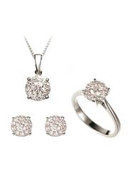 Liali Jewellery Mirage 18K White Gold Jewellery Set for Women, 0.7 Carat Look, Silver