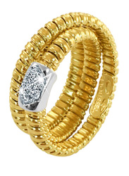 Liali Jewellery Tessitore 18K Yellow Gold Fashion Ring for Women with 7 Diamond, Gold, US 7