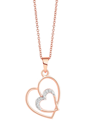 Liali Jewellery 18K Rose Gold Heart in Heart Diamond Pendant for Women, Rose Gold