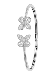 Liali Jewellery Red Carpet Butterfly 18K White Gold Bangle for Women with 172 Diamond, Silver