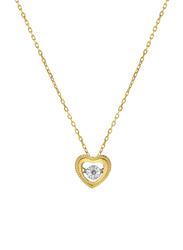 Liali Jewellery 18K Yellow Gold Dancing Diamond Heart Pendant for Women, Gold