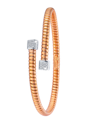 Liali Jewellery Tessitore 18K White/Rose Gold Bangle for Women with 0.15ct Diamond Stone, Rose Gold