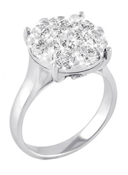 Liali Jewellery Mirage 18K White Gold Engagement Ring for Women with 10 Diamond, Silver, US 7