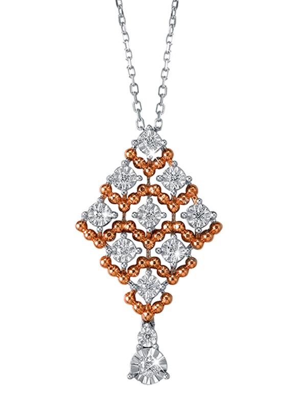Liali Jewellery Joie De Vivre 18K White/Rose Gold Necklace for Women with 0.13ct Diamond Stone Pendant, White/Rose Gold