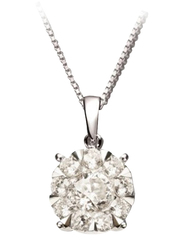 Liali Jewellery Mirage Classic 18K White Gold Pendant for Women, 3 Carat Look, Silver