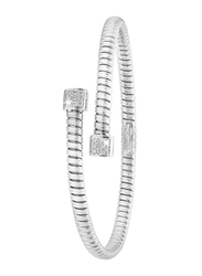 Liali Jewellery Tessitore 18K White Gold Bangle for Women with 0.15ct Diamond Stone, White