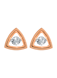 Liali Jewellery 18K Rose Gold Triangle Shape Stud Earrings for Women with 0.07ct Dancing Diamond Stone, Rose Gold