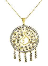 Liali Jewellery Regalo 18K Yellow Gold Necklace for Women with Zircon Stone Dream Catcher Gold Pendant with Ummi, Yellow
