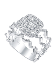 Liali Jewellery Emerald Cut 18K White Gold Fashion Ring for Women with 0.31ct Diamond Stone, White, US 7