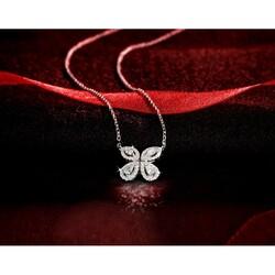 Liali Jewellery Red Carpet Butterfly 18K White Gold Pendant for Women, Silver