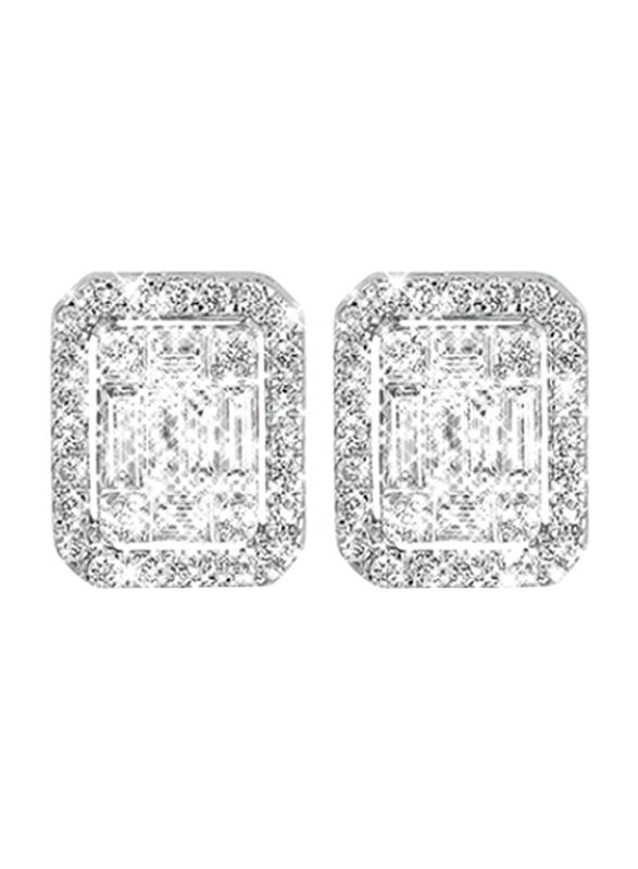Liali Jewellery Emerald Cut 18K White Gold Stud Earrings for Women with 76 Diamond, 1.5 Carat Look, Silver