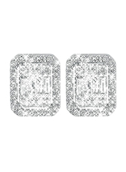 Liali Jewellery Emerald Cut 18K White Gold Stud Earrings for Women with 76 Diamond, 1.5 Carat Look, Silver