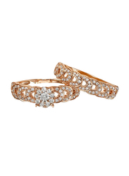 Liali Jewellery Love Band 18K Rose Gold Couple Ring with 127 Diamond, Rose Gold, US 7