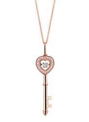 Liali Jewellery 18K Rose Gold Dancing Diamond Heart Key Pendant for Women, Rose Gold