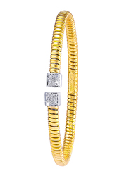 Liali Jewellery Tessitore 18K Yellow/White Gold Bangle for Women with 0.35ct Diamond Stone, Yellow