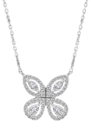 Liali Jewellery Red Carpet Butterfly 18K White Gold Pendant for Women, Silver