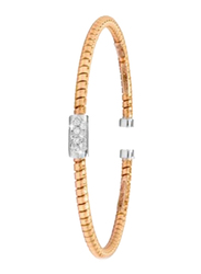 Liali Jewellery Tessitore 18K Rose Gold Bangle for Women with 10 Diamond, Rose Gold