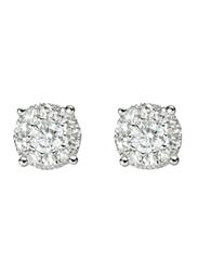 Liali Jewellery Mirage Classic 18K White Gold Stud Earrings for Women with 18 Diamond, 1 Carat Look, Silver