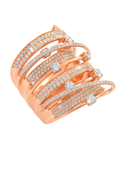 Liali Jewellery Midnight 18K Rose Gold Stacking Ring for Women with 318 Diamond, Rose Gold, US 7